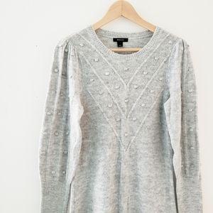RW&CO Grey Pom Knit Sweater Dress Small